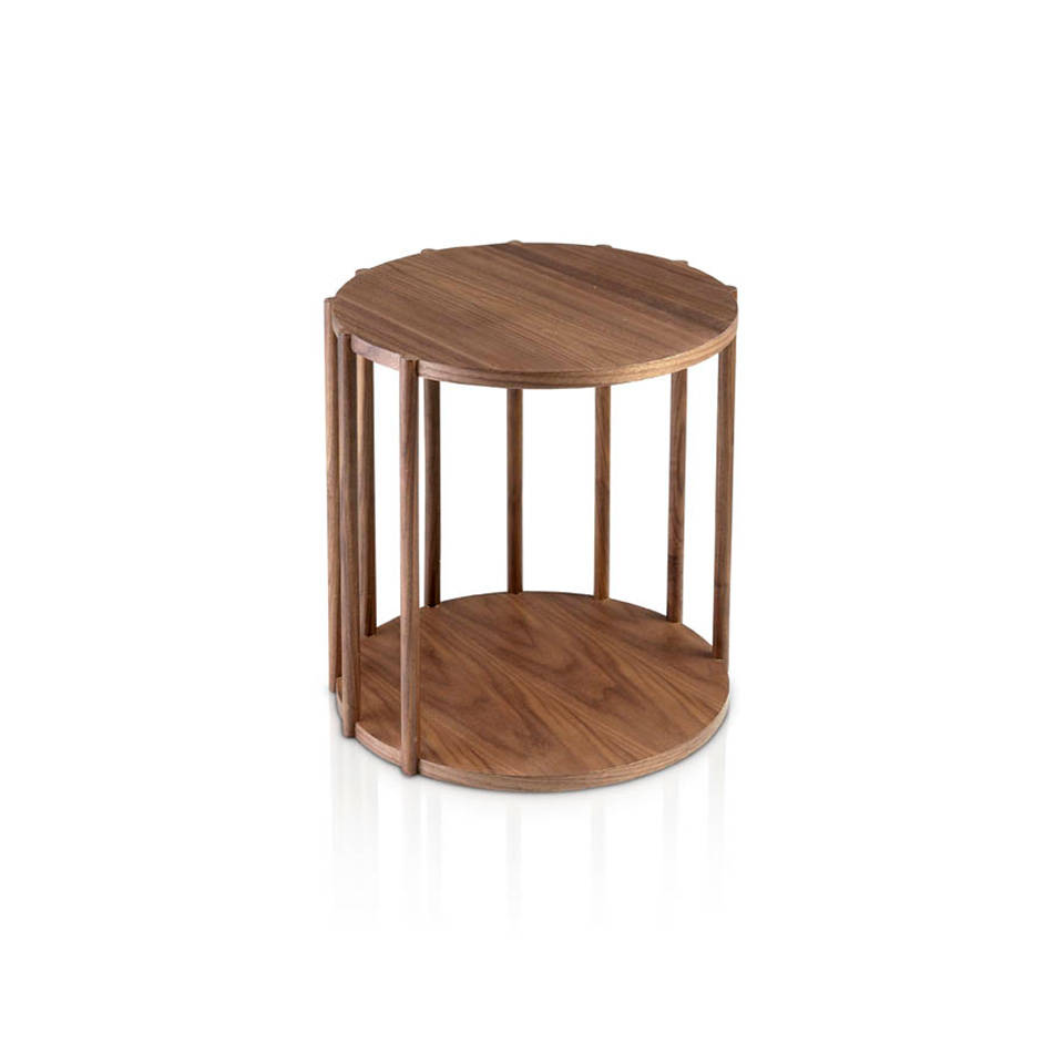 Walnut round wood corner table