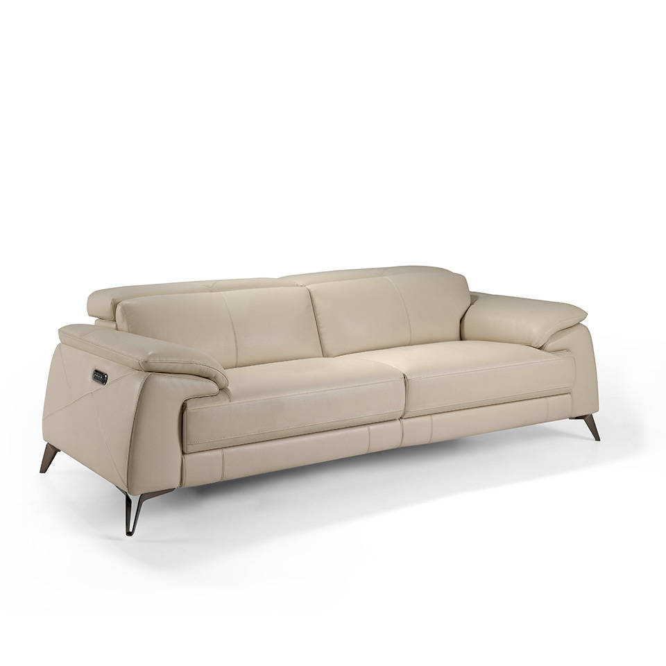 3-seat sofa upholstered in leather with 4 x individual electric relax mechanisms