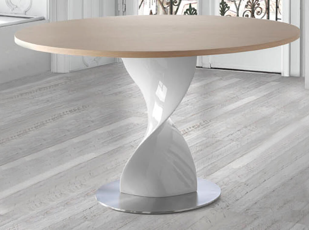 Dining table with fiberglass base and Oak top