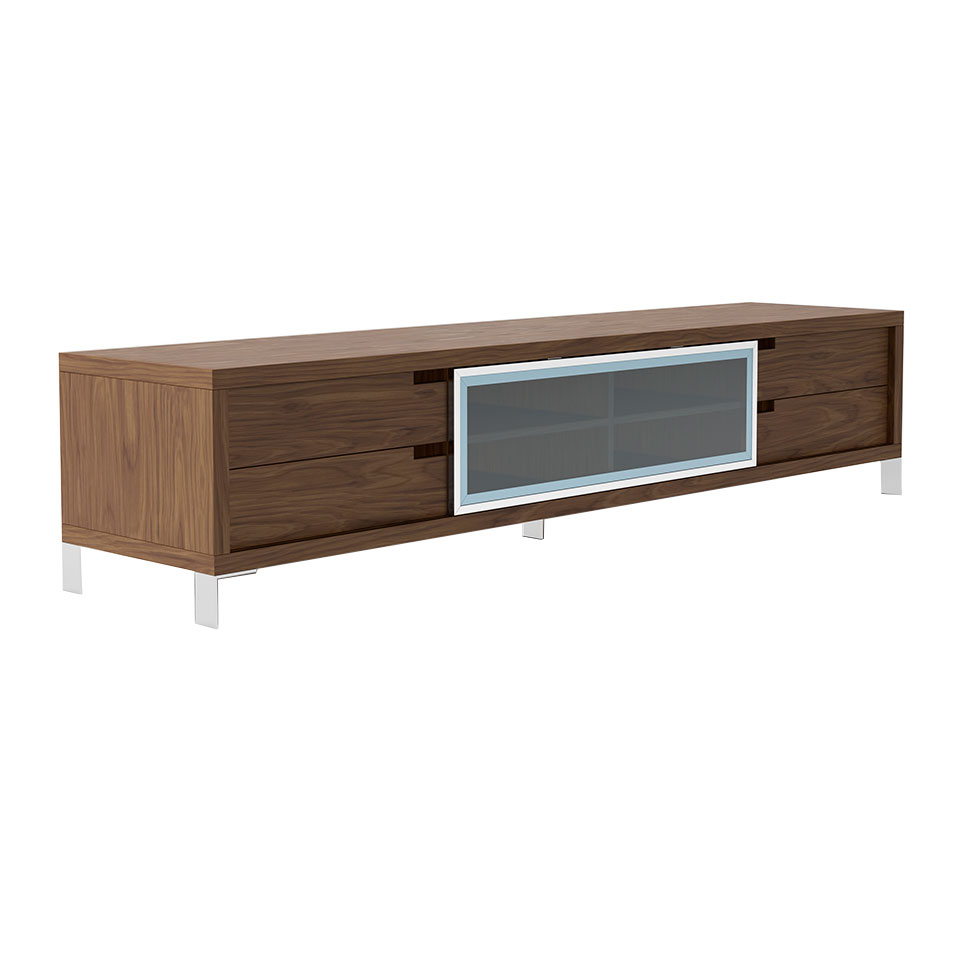 Walnut wood and chromed steel TV cabinet