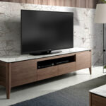 Walnut wood TV cabinet and porcelain top
