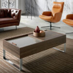 Walnut wood coffee table with hatch and chromed steel