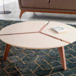 Round center table in cream wood and walnut wood