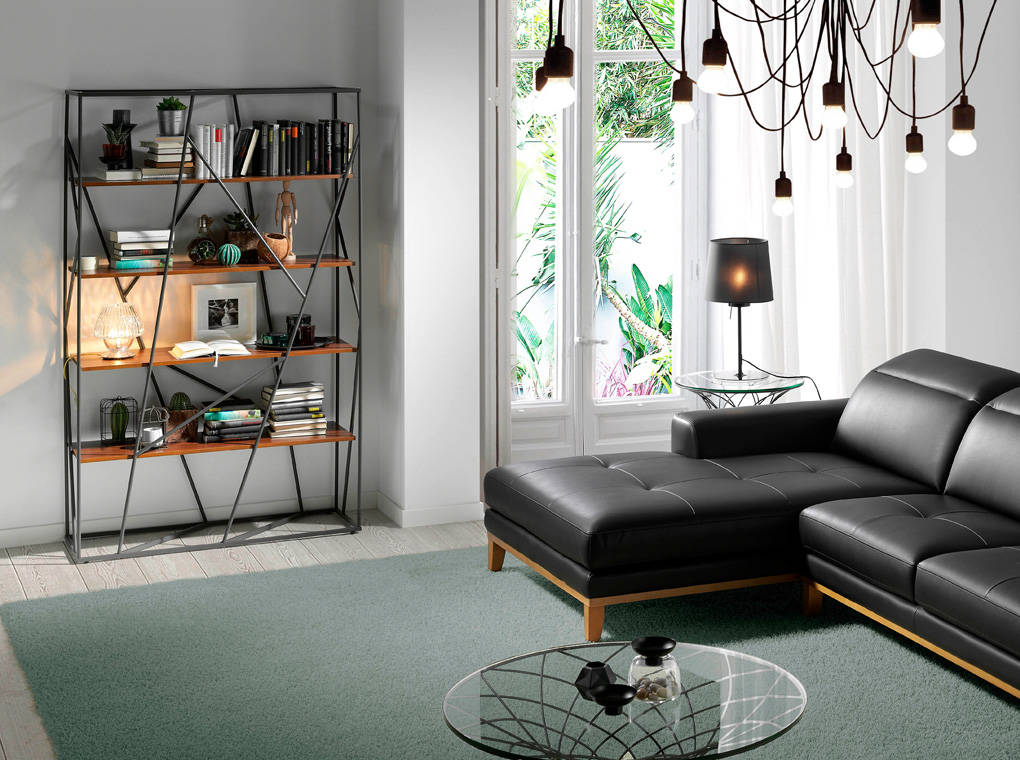 Black epoxy steel bookshelf with shelves in Walnut-plated DM