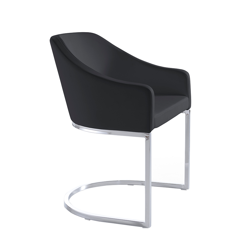 Upholstered chair with stainless steel frame