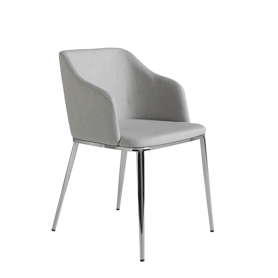 Upholstered chair with chromed steel frame