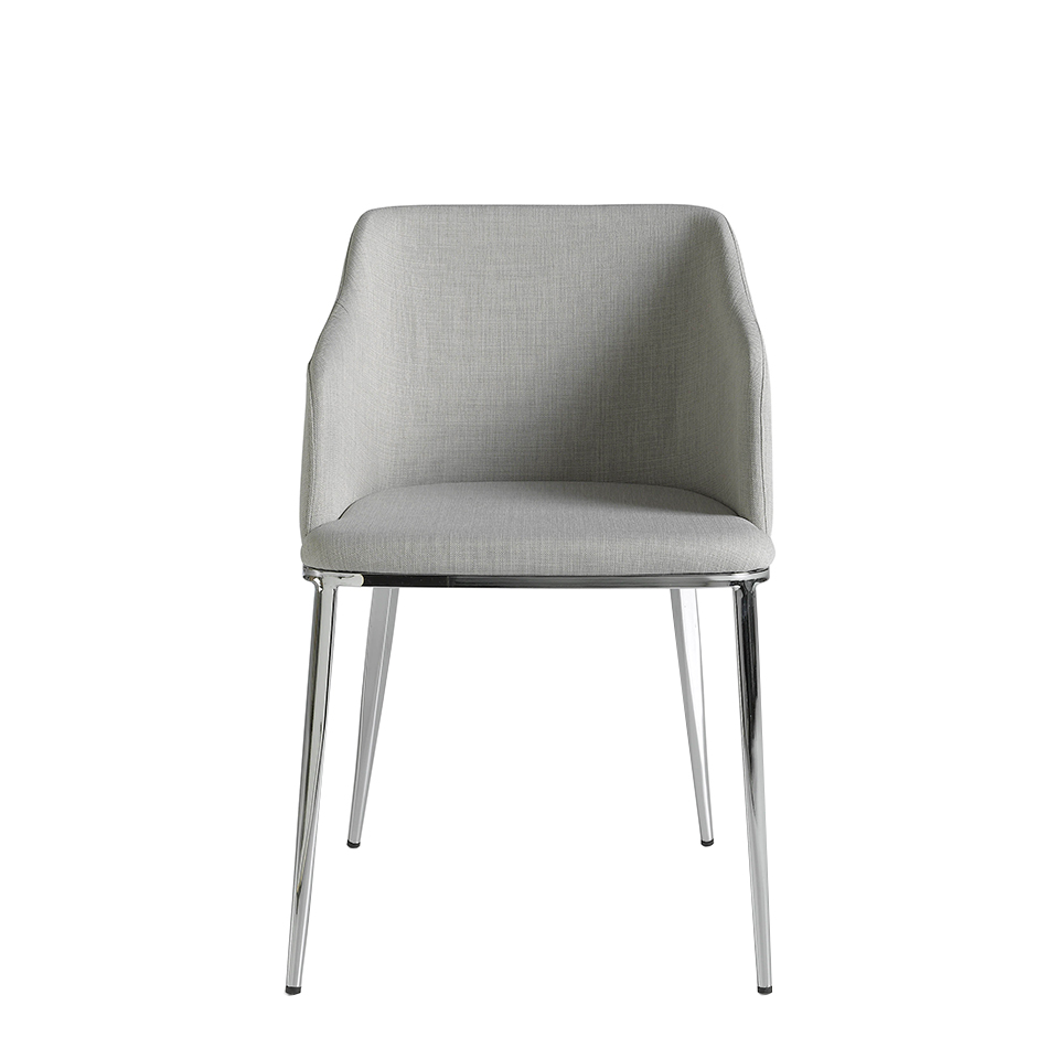 Chair upholstered in fabric with chromed steel frame