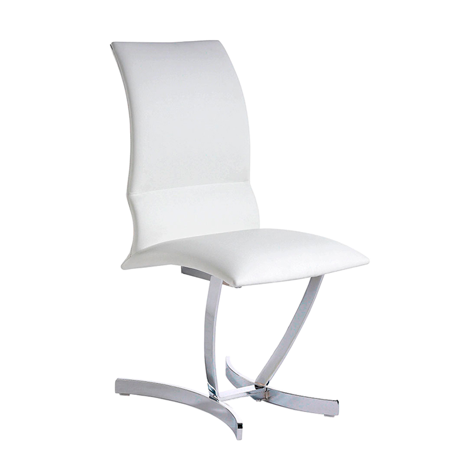 Upholstered chair with stainless steel structure.