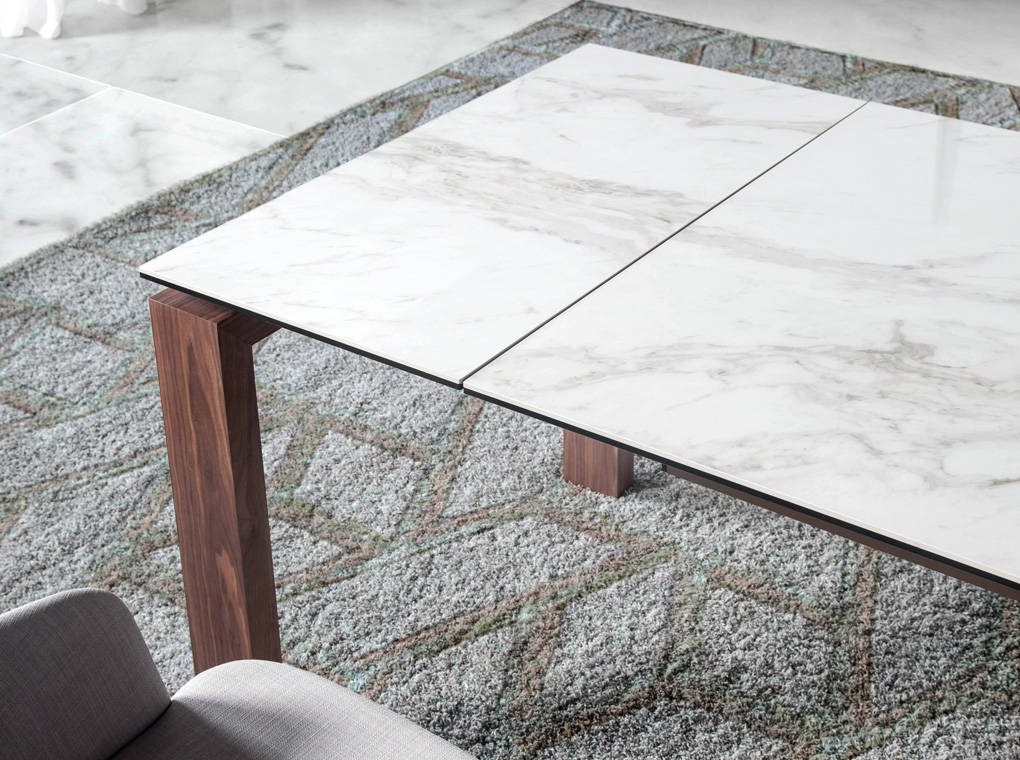 Extendable Dining Table With Porcelain Marble Tops Angel Cerdá SL - Marble top extendable dining table