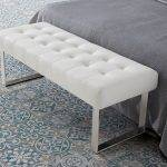 Upholstered bench stool with stainless steel frame