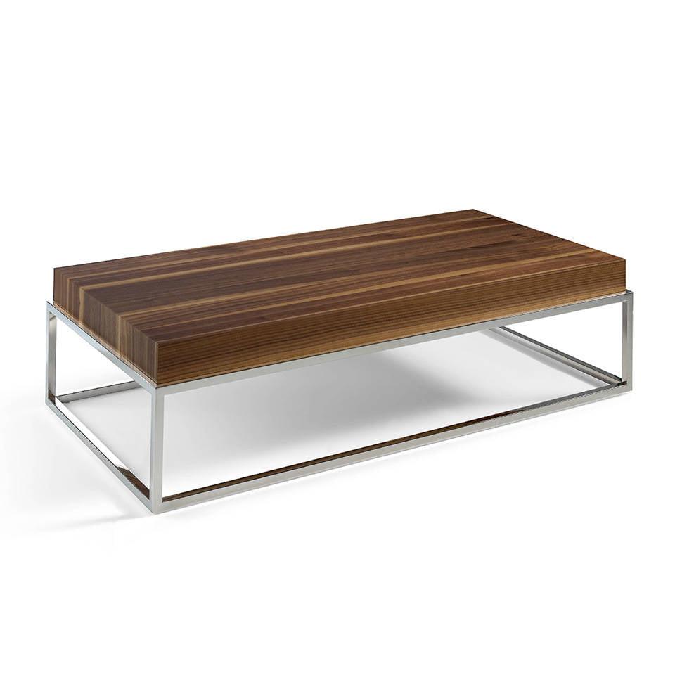 Mesa de centro con estructura de acero cromado y tapa de - Mesa de centro con puff ...