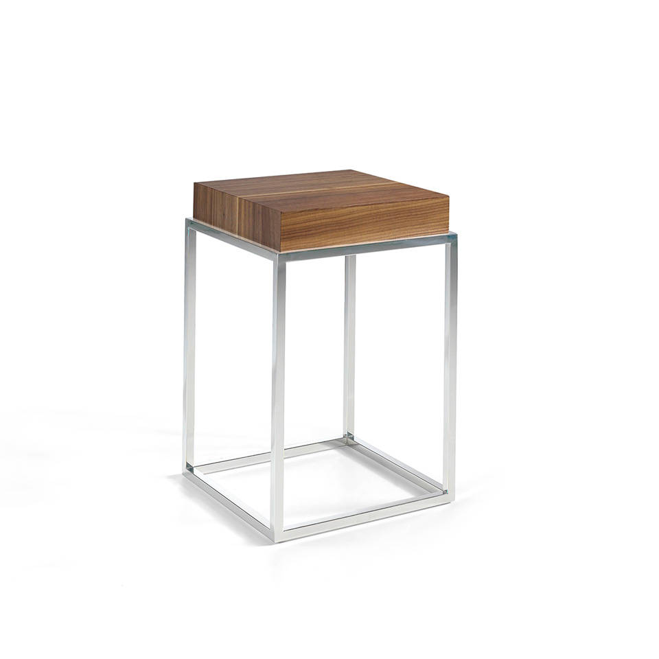 Corner table with stainless steel frame and Mdf cover plated in Walnut