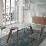 Rectangular dining table in tempered glass and Walnut wood