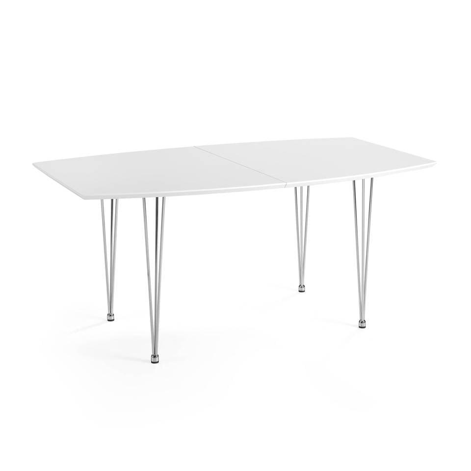 Mesa de comedor extensible con tapa de DM lacado y patas de acero inoxidable