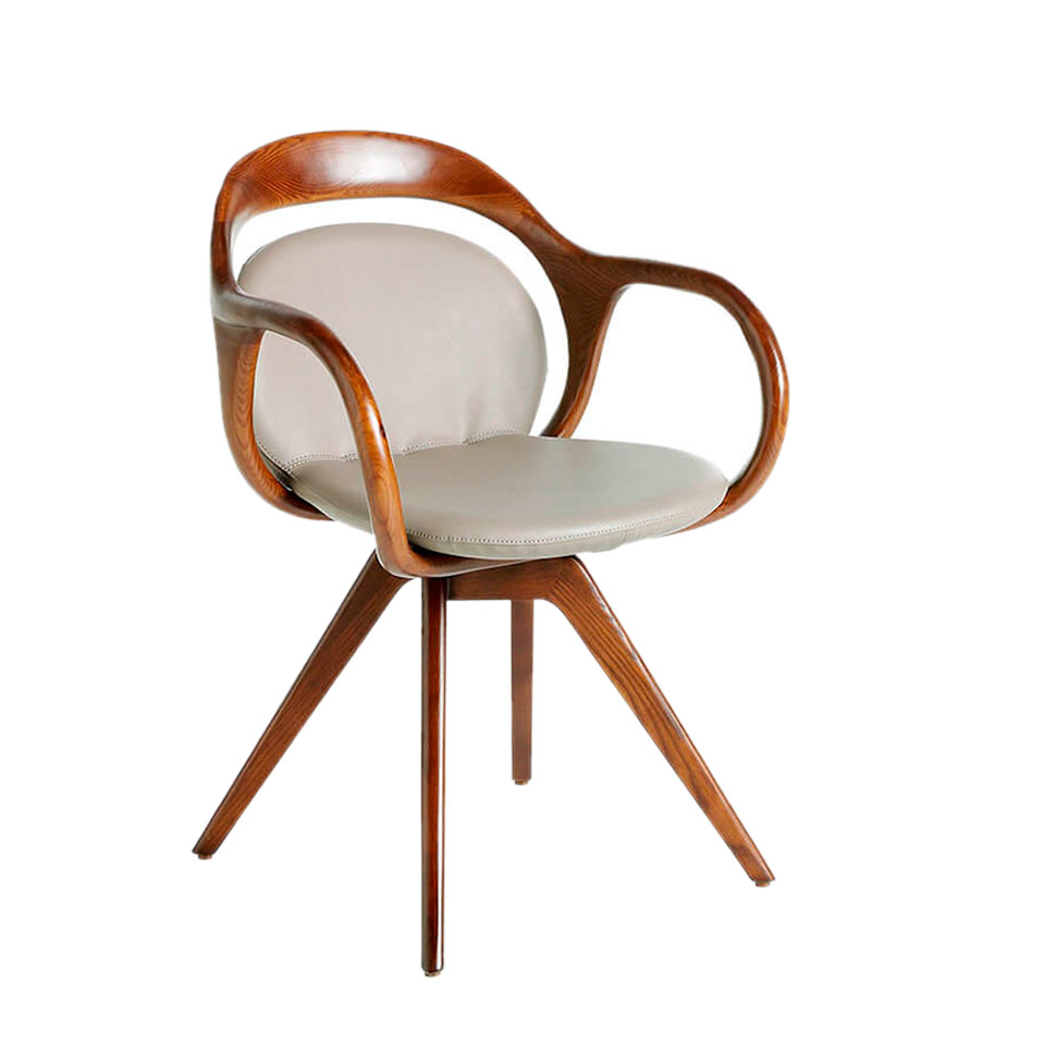 Swivel chair upholstered in leatherette and solid wood frame in Walnut color