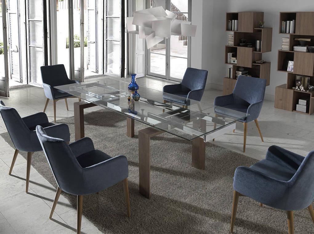 Mesa de comedor extensible con tapa de cristal templado y patas ...