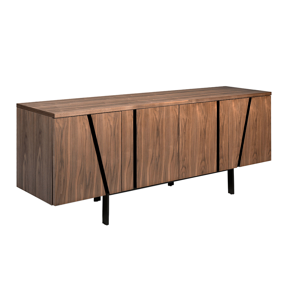 Walnut wood and black steel sideboard