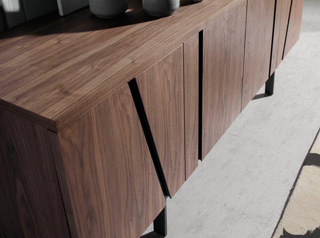 Walnut-veneered wooden sideboard with black steel structure