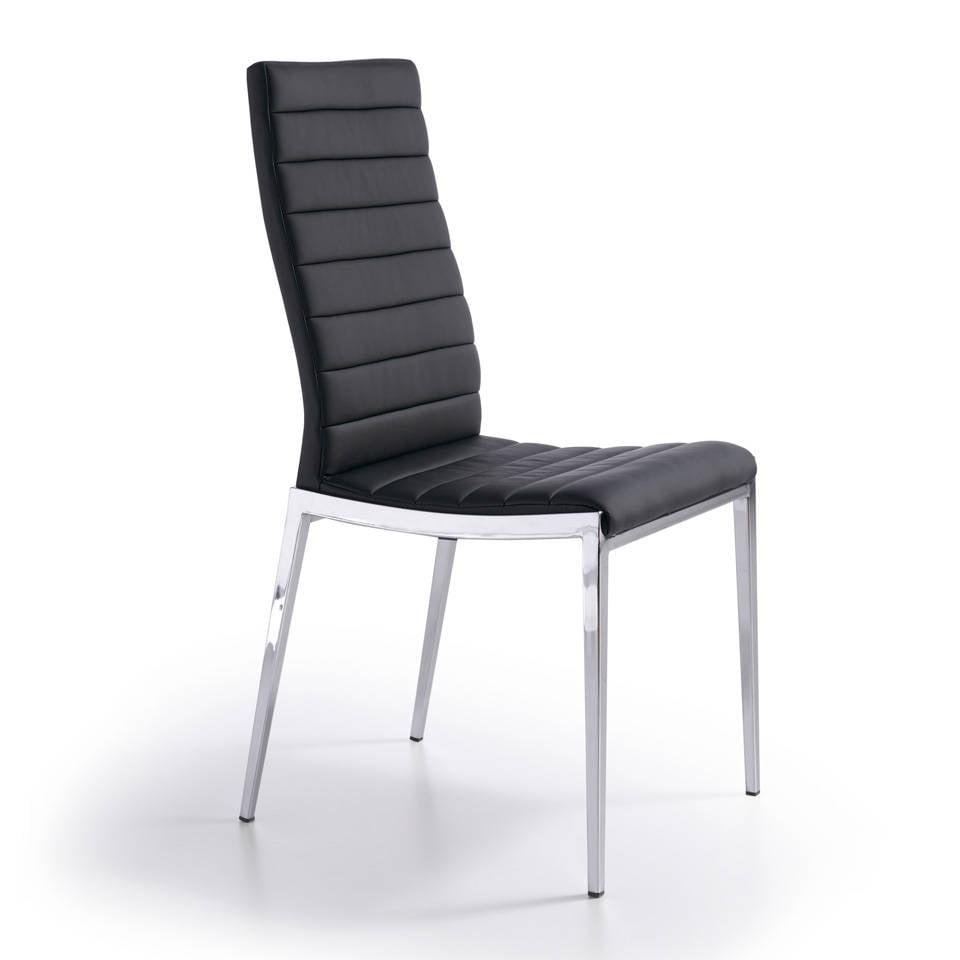 Sedia imbottita con struttura in acciaio inossidabile.