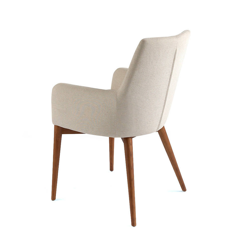 Upholstered armchair with legs in walnut veneered wood