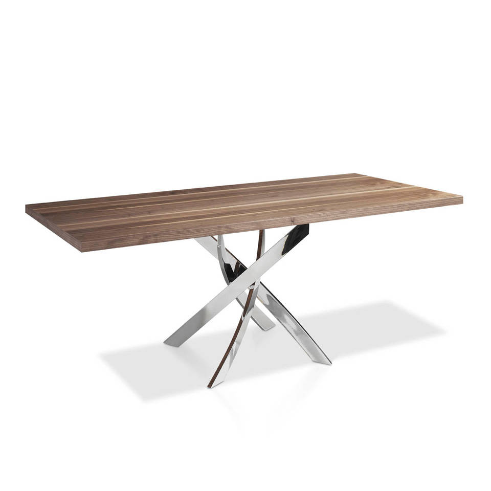 Dining table with an lacquered steel base and walnut...