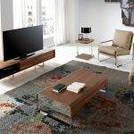 Walnut-veneered wooden TV furniture with two lacquered drawers and stainless steel legs.