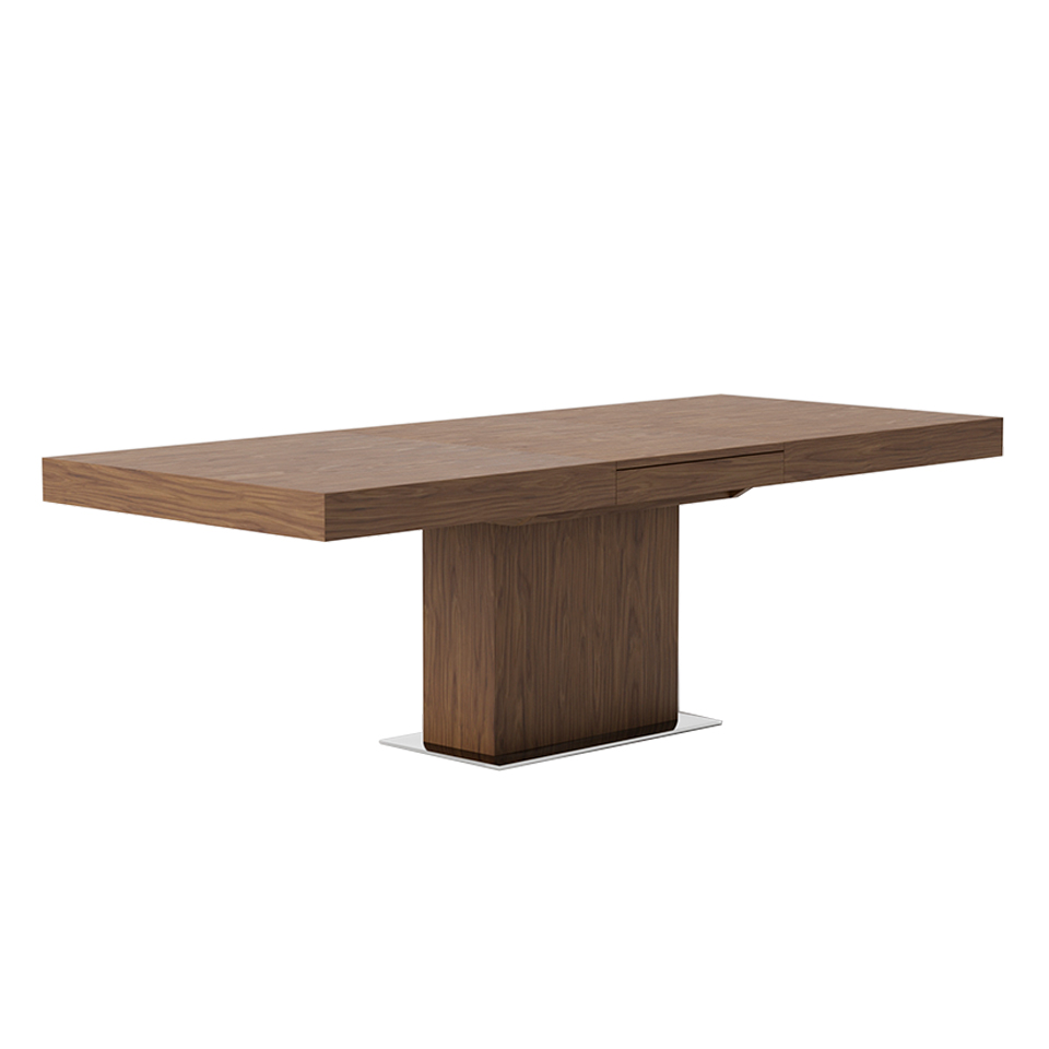 Rectangular extendible dining table in walnut veneered wood