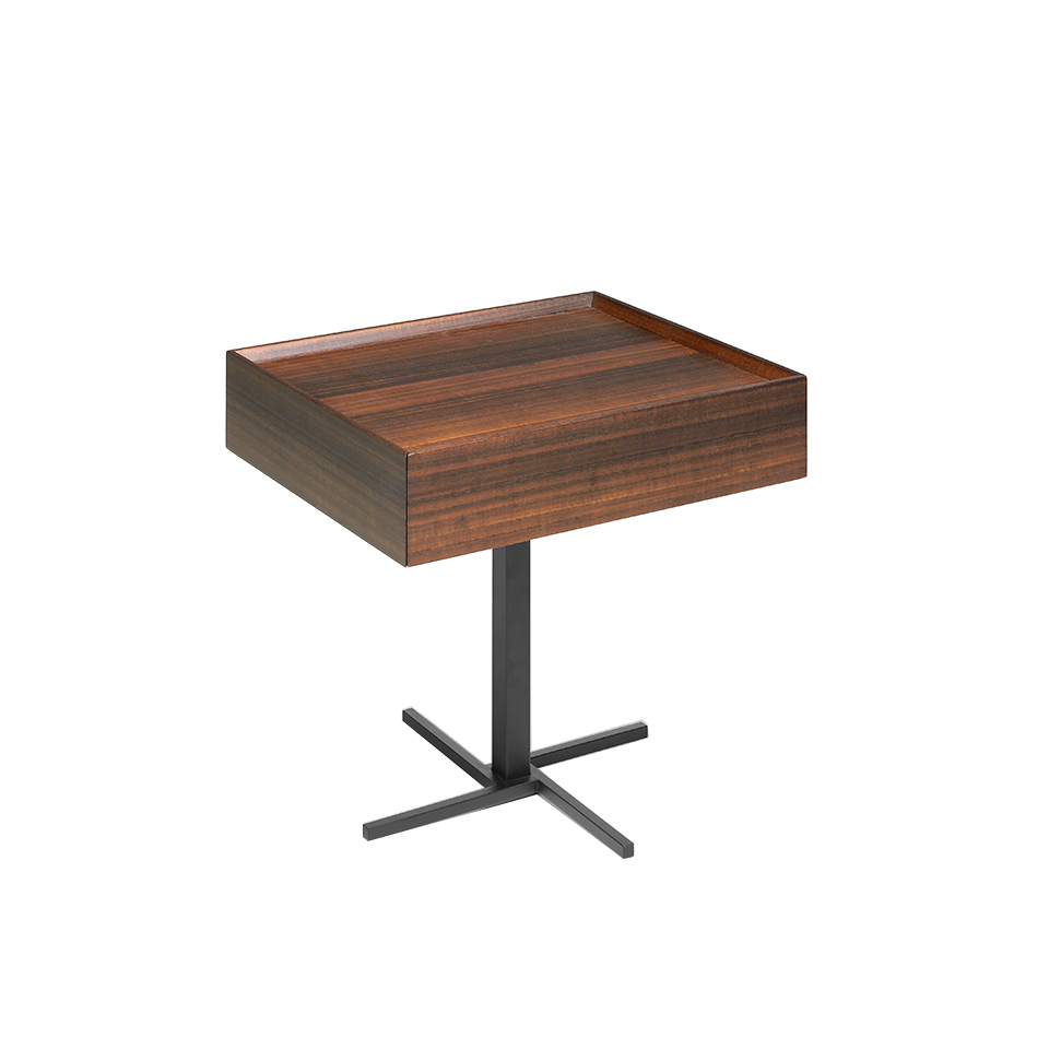 Walnut wood and black steel corner table with drawer