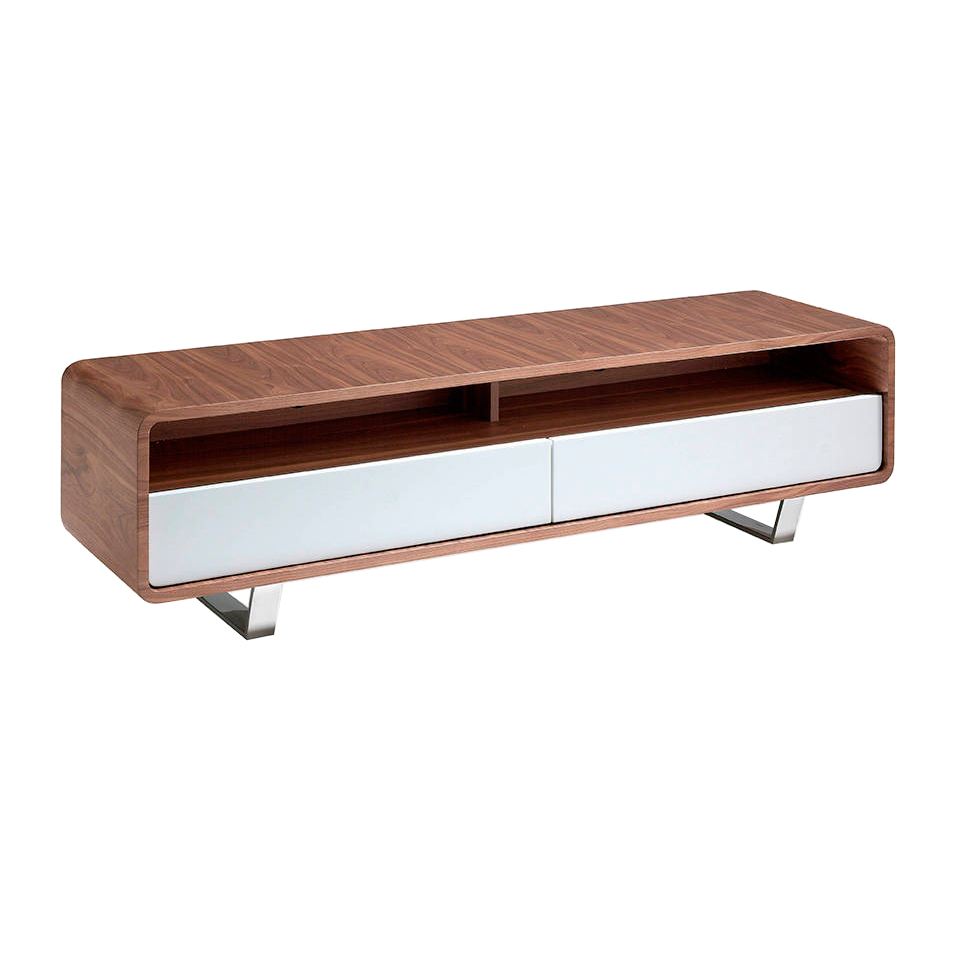 Walnut wood TV cabinet with white drawers and chrome steel