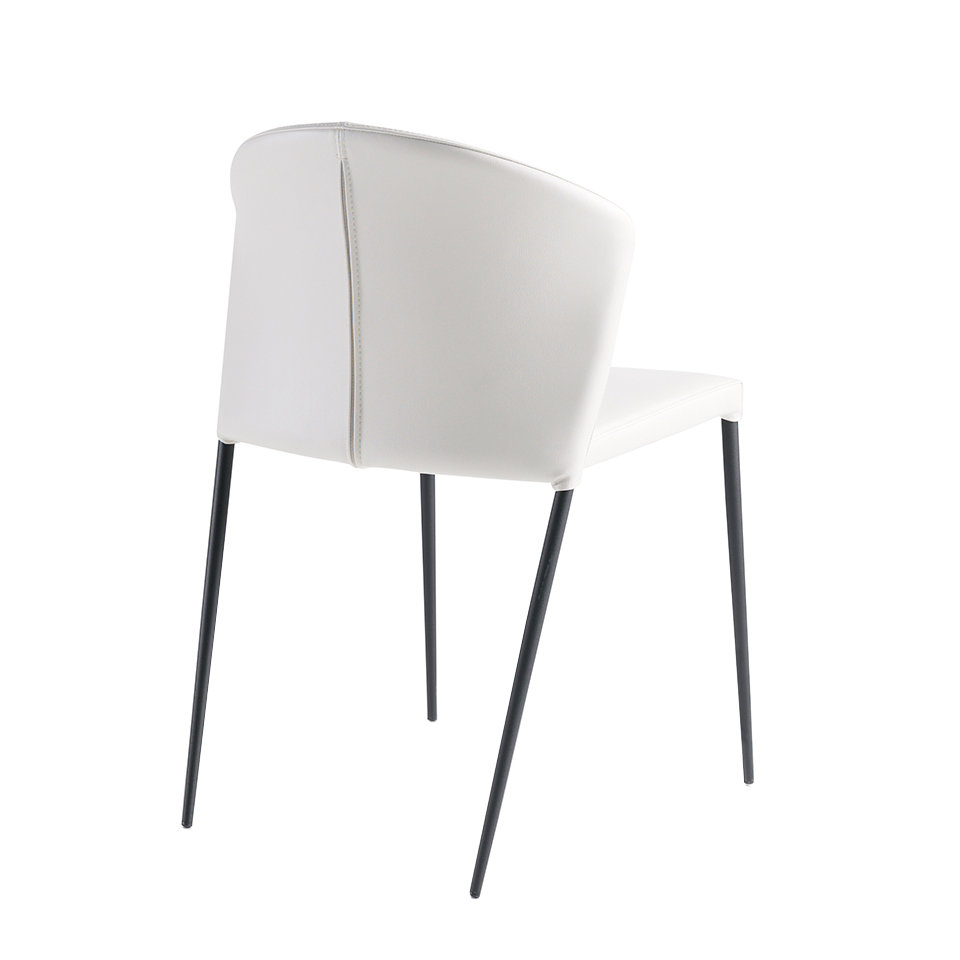 Upholstered chair with black steel frame.