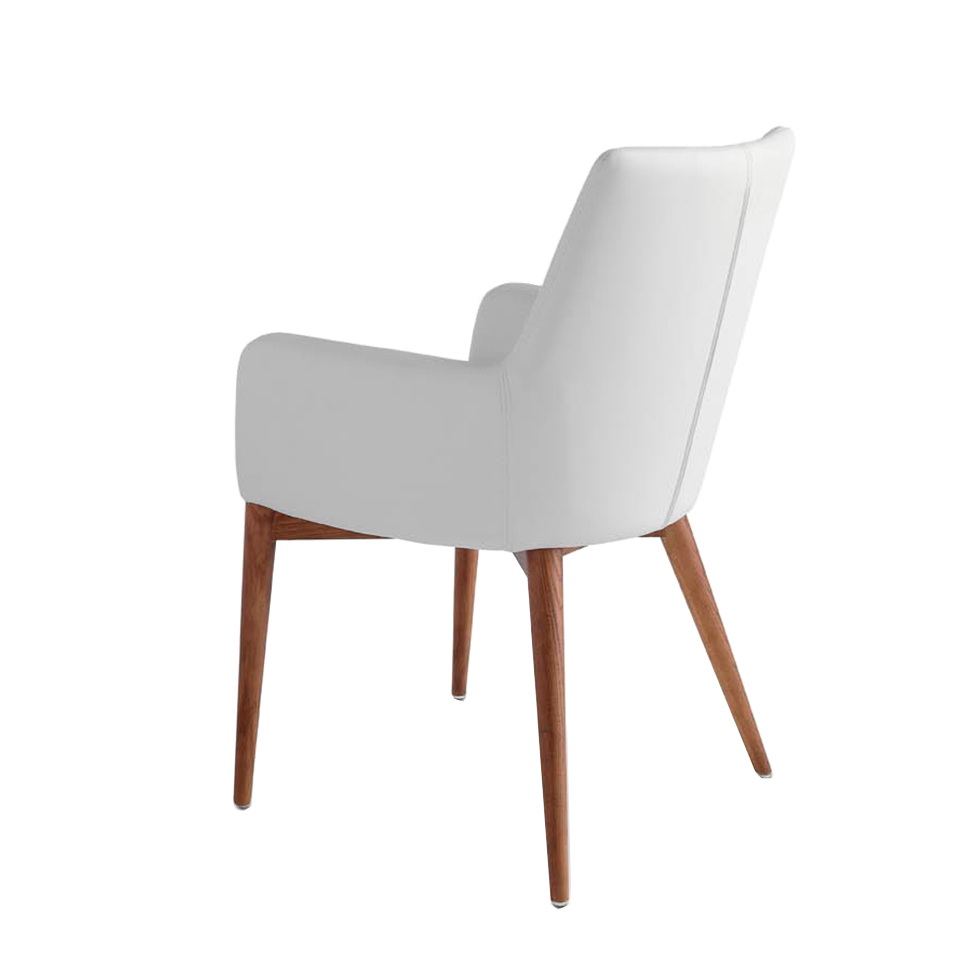 Chair upholstered in leatherette with Walnut colored wooden structure