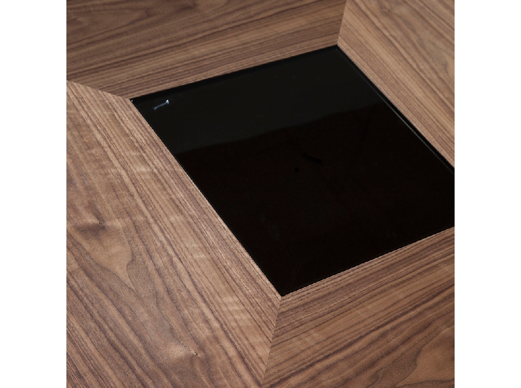 Walnut wood dining table with black tinted glass