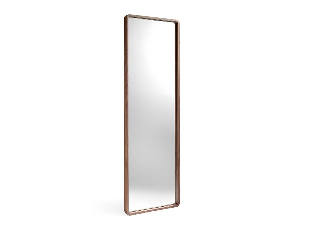 Foot mirror manufactured in Walnut-veneered wood.