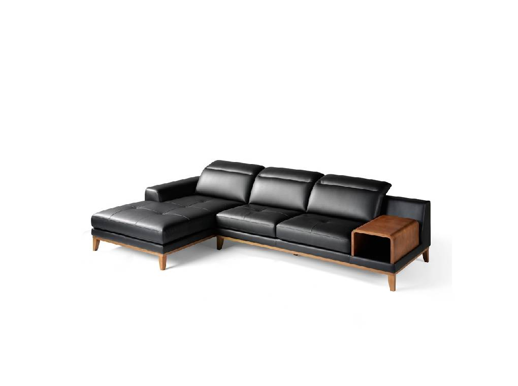 Sofa with chaise longue upholstered in leather and walnut wood legs Sofa Chaise Longue Negro on table sofa, bookcase sofa, fabric sofa, couch sofa, settee sofa, pillow sofa, glider sofa, lounge sofa, beds sofa, bench sofa, futon sofa, recliner sofa, ottoman sofa, bedroom sofa, chair sofa, divan sofa, art sofa, cushions sofa, storage sofa, mattress sofa,