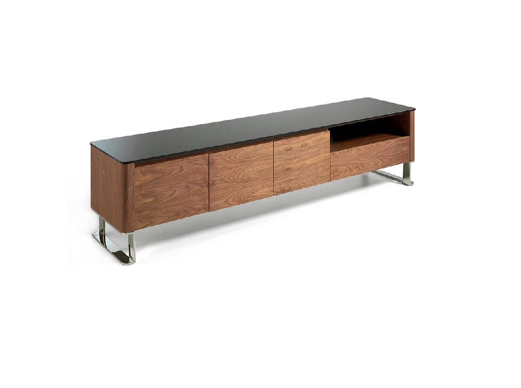 Walnut wood TV cabinet and black tempered glass top