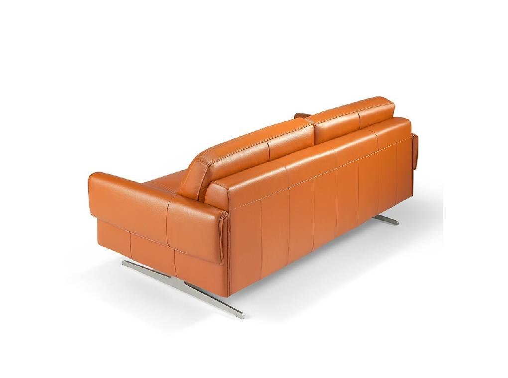 3 sitzer ledersofa mit edelstahlf en designerm bel. Black Bedroom Furniture Sets. Home Design Ideas