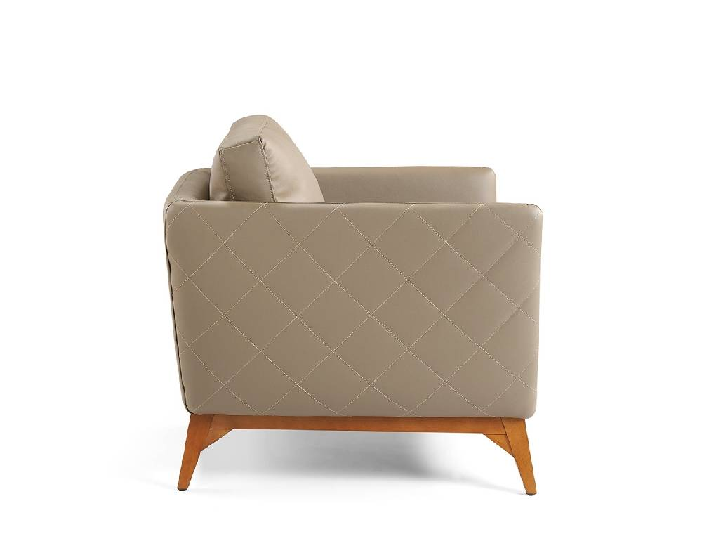 Armchair upholstered in leather and Walnut wood legs