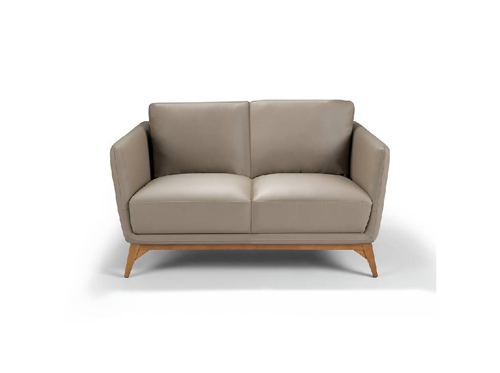 2-seat sofa upholstered in legs with walnut wood legs