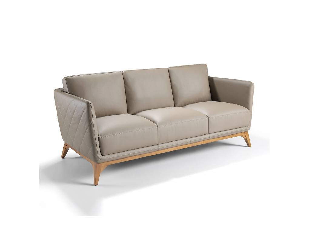 Upholstered sofa with solid walnut wood frame.