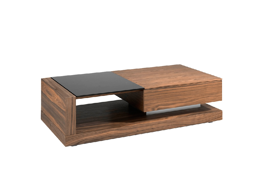 Walnut wood coffee table and black stained glass with drawer