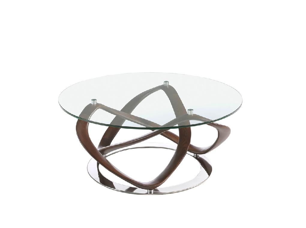 (Español) Mesa centro redonda de cristal templado y madera maciza color Nogal