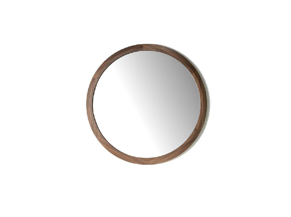 Walnut wood frame circular mirror