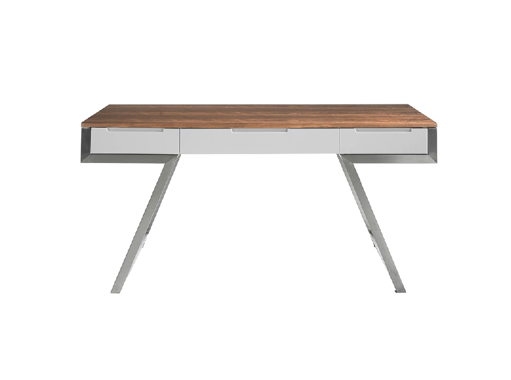 Walnut wood office desk and White fronts
