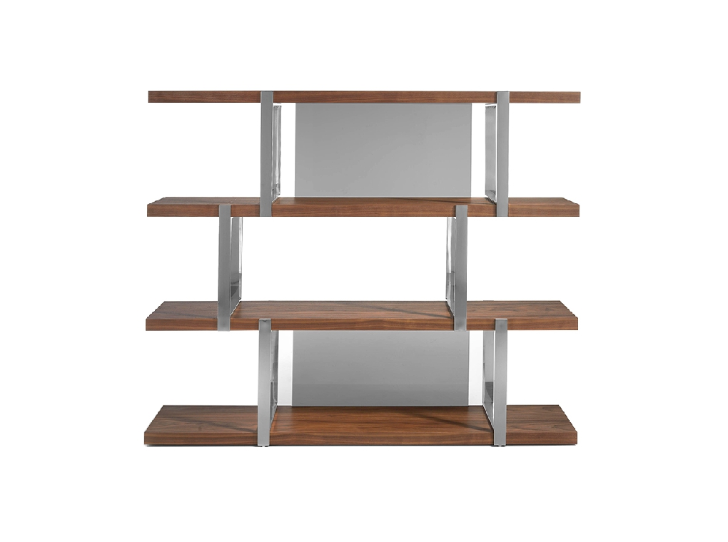 Walnut wood shelf and black translucent glass