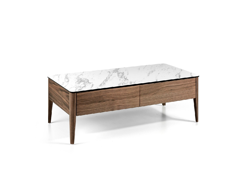 Porcelain and Walnut wood coffee table with drawers