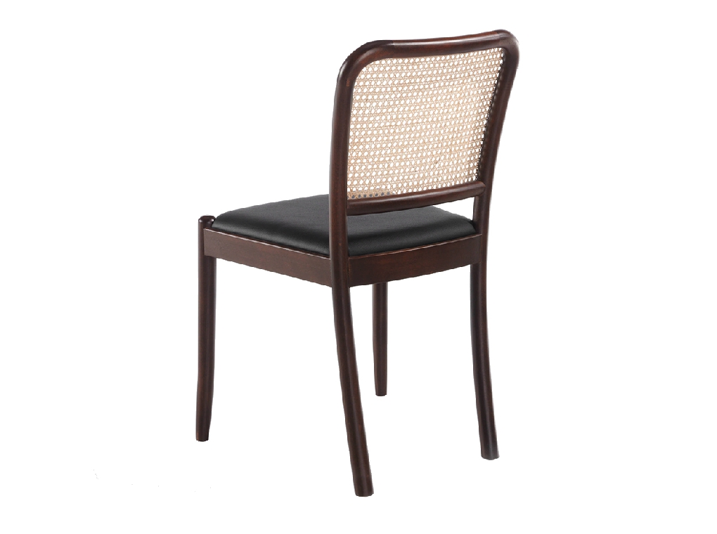 Chair upholstered in leatherette with rattan backrest and Walnut wood legs