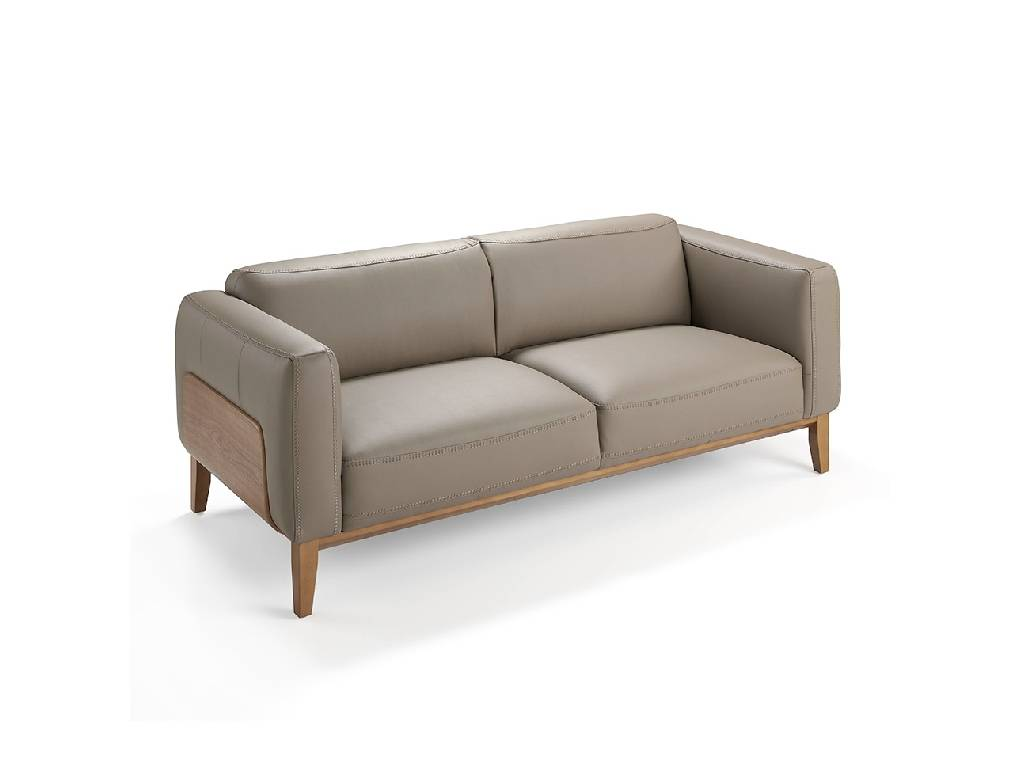 3-seat sofa upholstered in leather with a walnut wood structure