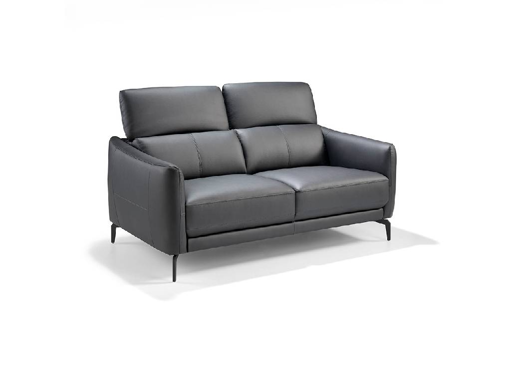 2 seat sofa upholstered in leather with stainless steel legs