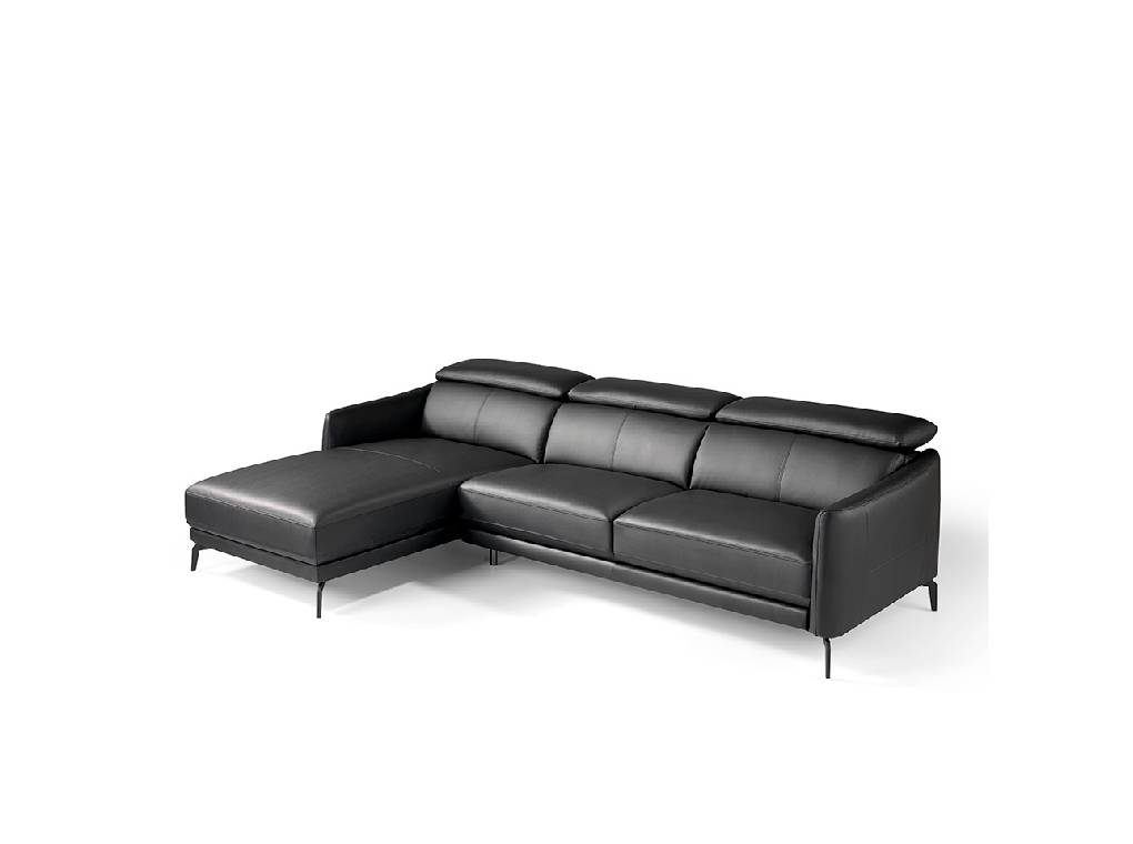 Chaise longue sofa upholstered in leather and stainless for Chaise longue leather