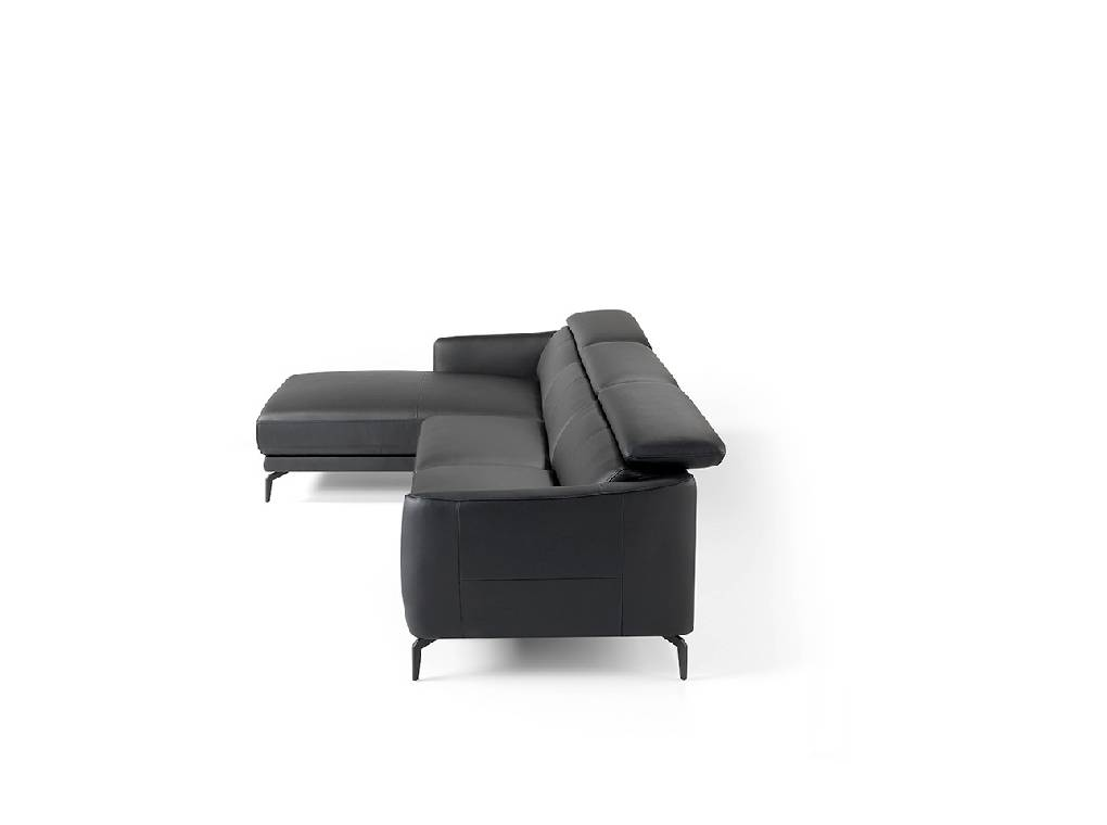 Chaise longue sofa upholstered in leather and black steel legs